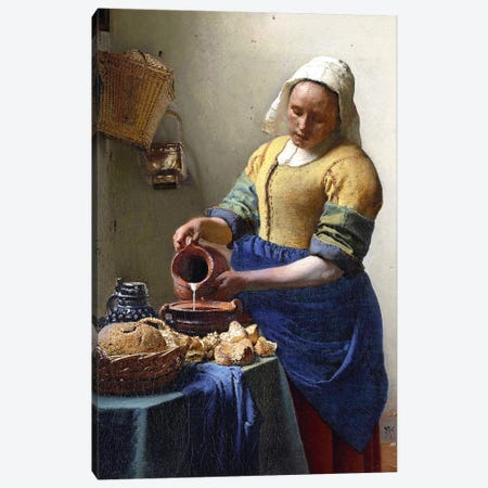 The Milkmaid In Zoom Canvas Print #BMN6098} by Johannes Vermeer Canvas Art