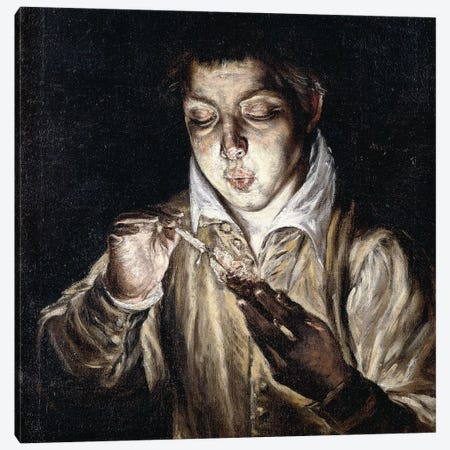 A Boy Lighting A Candle (Private Collection) Canvas Print #BMN6099} by El Greco Canvas Artwork