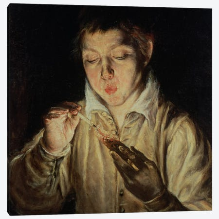 A Child Blowing On An Ember, c.1570-c.1574 (Museo di Capodimonte) Canvas Print #BMN6101} by El Greco Canvas Art