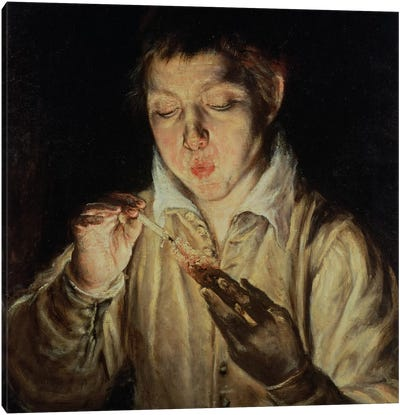 A Child Blowing On An Ember, c.1570-c.1574 (Museo di Capodimonte) Canvas Art Print