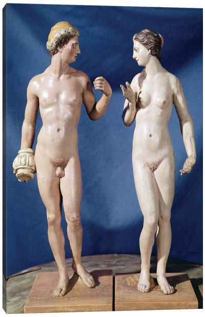 Adam And Eve (Painted Plaster) Canvas Art Print