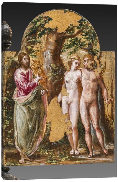 Adam And Eve Facing The Eternal Father, (Back Side Of Left Panel From El Greco's Portable Altar) Canvas Print #BMN6103