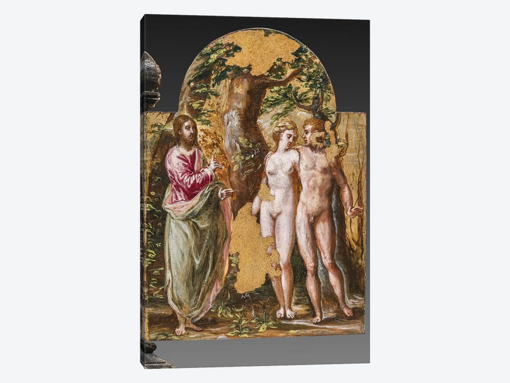 Adam And Eve Facing The Eternal Father, (Back Side Of Left Panel From El Greco's Portable Altar) by El Greco 1-piece Art Print