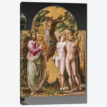 Adam And Eve Facing The Eternal Father, (Back Side Of Left Panel From El Greco's Portable Altar) Canvas Print #BMN6103} by El Greco Canvas Artwork
