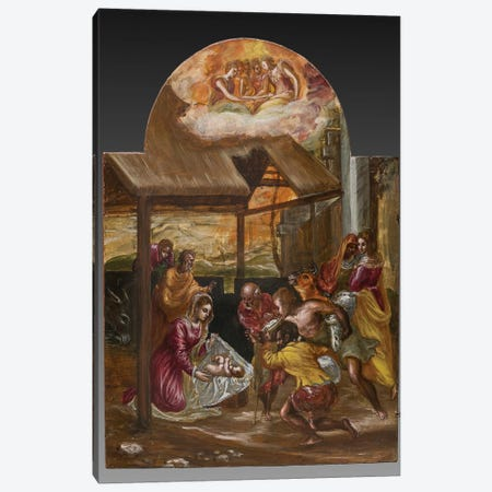 Adoration Of The Shepherds (Front Side Of Left Panel From El Greco's Portable Altar) Canvas Print #BMN6104} by El Greco Canvas Art Print