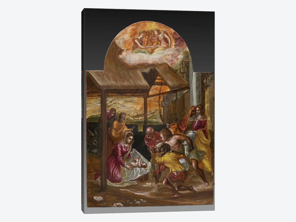 Adoration Of The Shepherds (Front Side Of Left Panel From El Greco's Portable Altar) by El Greco 1-piece Canvas Art