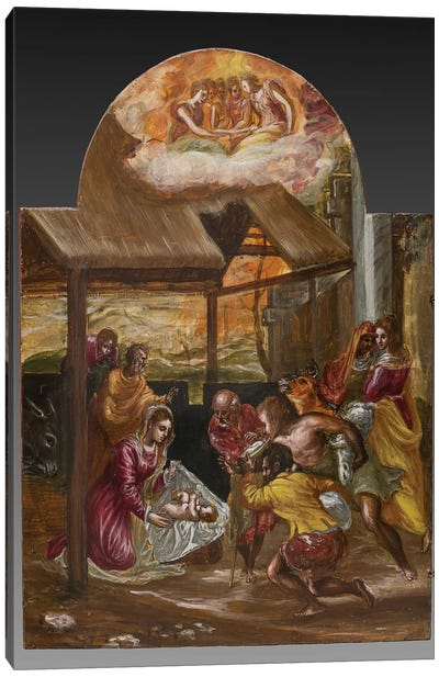 Adoration Of The Shepherds (Front Side Of Left Panel From El Greco's Portable Altar) Canvas Art Print