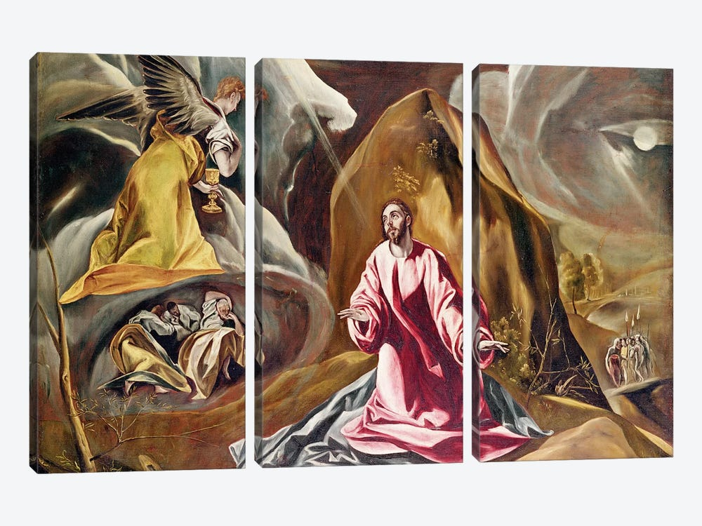 Agony In The Garden Of Gethsemane, c.1590's (National Gallery - London) by El Greco 3-piece Canvas Print