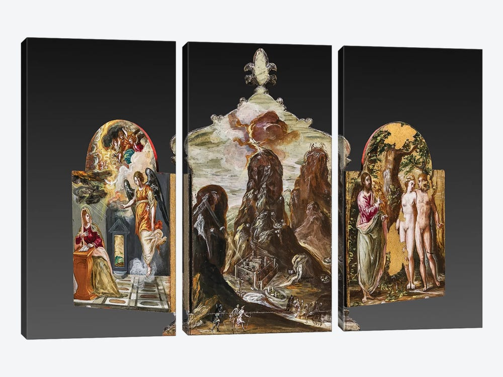 Back Side Of El Greco's Portable Altar by El Greco 3-piece Canvas Art Print