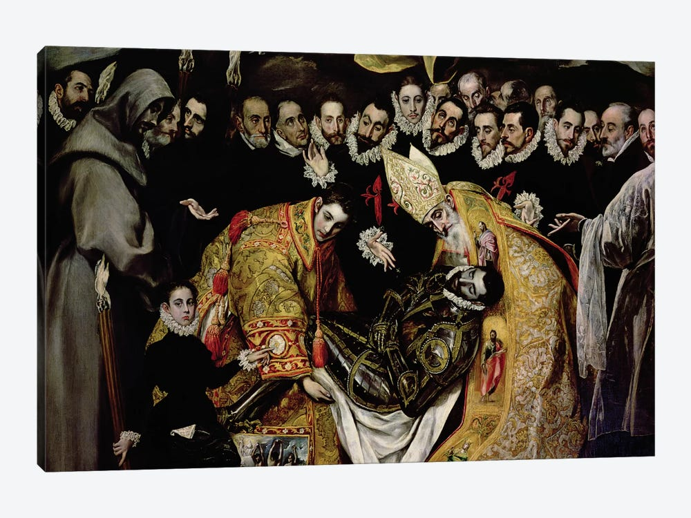 Bottom Half In Detail, The Burial Of Count Orgaz (Illustration of a Local Legend), 1586-88 by El Greco 1-piece Canvas Artwork