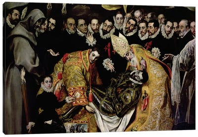 Bottom Half In Detail, The Burial Of Count Orgaz (Illustration of a Local Legend), 1586-88 Canvas Art Print