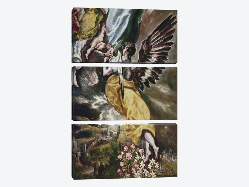 Bottom Half In Detail, The Immaculate Conception, 1607-13 by El Greco 3-piece Art Print