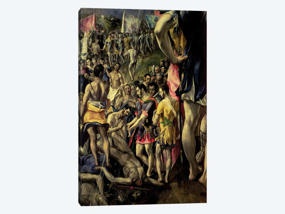 Bottom Left In Detail, The Martyrdom Of St. Maurice, 1580-83 by El Greco 1-piece Canvas Art Print
