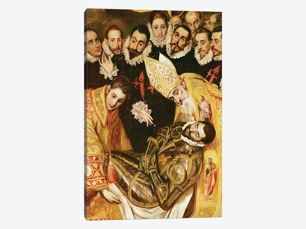 Bottom Middle In Detail, The Burial Of Count Orgaz (Illustration of a Local Legend), 1586-88 by El Greco 1-piece Canvas Artwork