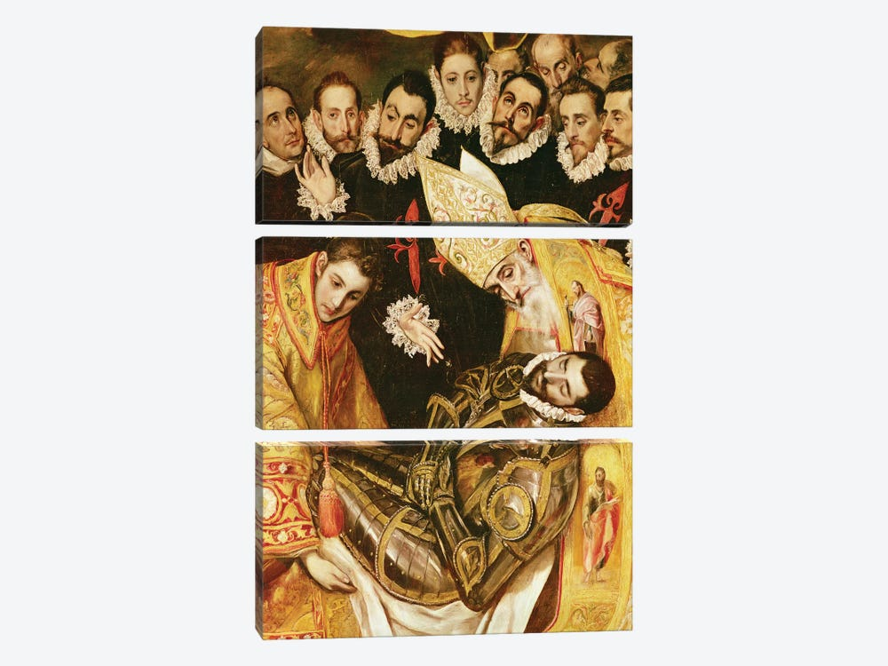 Bottom Middle In Detail, The Burial Of Count Orgaz (Illustration of a Local Legend), 1586-88 by El Greco 3-piece Canvas Artwork