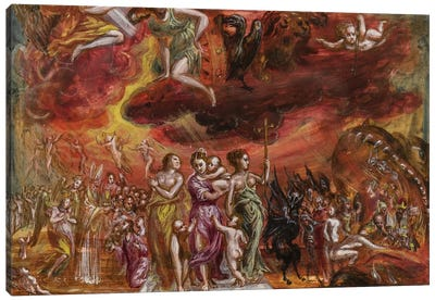 Bottom Third, Allegory Of The Christian Knight (Front Side Of Central Panel From El Greco's Portable Altar) Canvas Art Print
