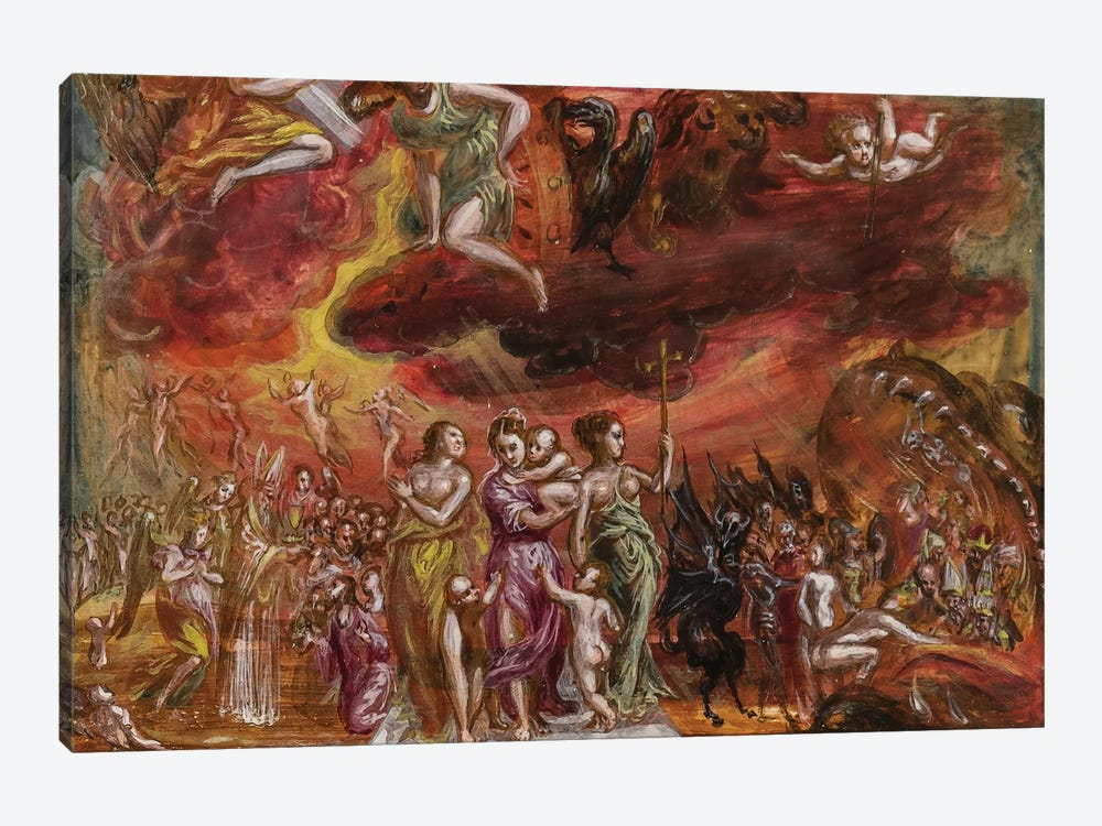 Bottom Third, Allegory Of The Christian Knight (Front Side Of Central Panel From El Greco's Portable Altar) by El Greco 1-piece Canvas Art Print