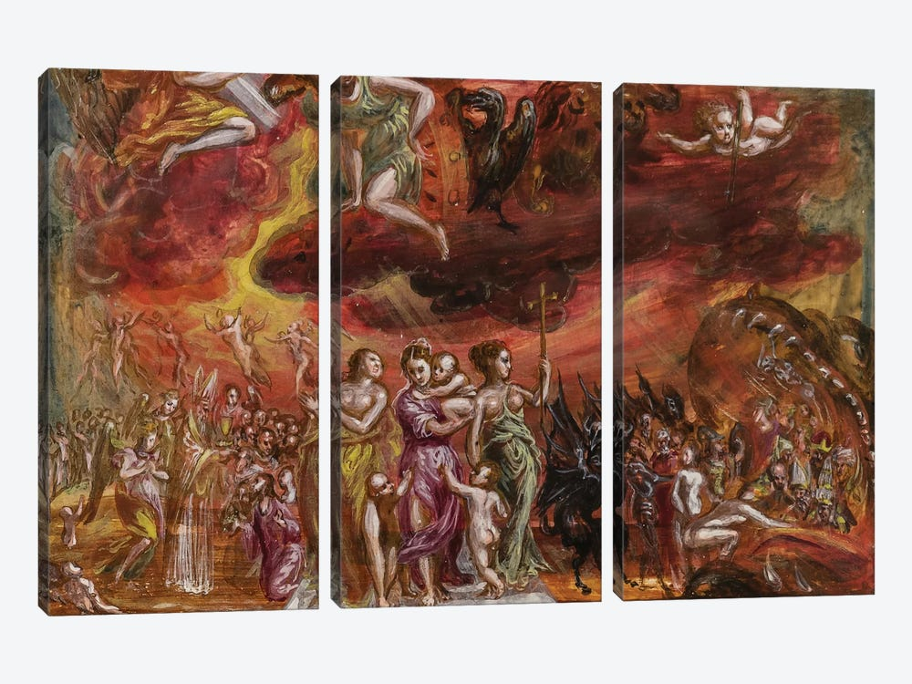 Bottom Third, Allegory Of The Christian Knight (Front Side Of Central Panel From El Greco's Portable Altar) by El Greco 3-piece Canvas Art Print