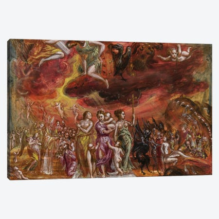 Bottom Third, Allegory Of The Christian Knight (Front Side Of Central Panel From El Greco's Portable Altar) Canvas Print #BMN6112} by El Greco Canvas Art Print