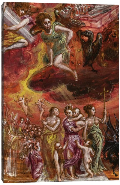 Bottom Two-Thirds In Zoom, Allegory Of The Christian Knight (Front Side Of Central Panel From El Greco's Portable Altar) Canvas Art Print