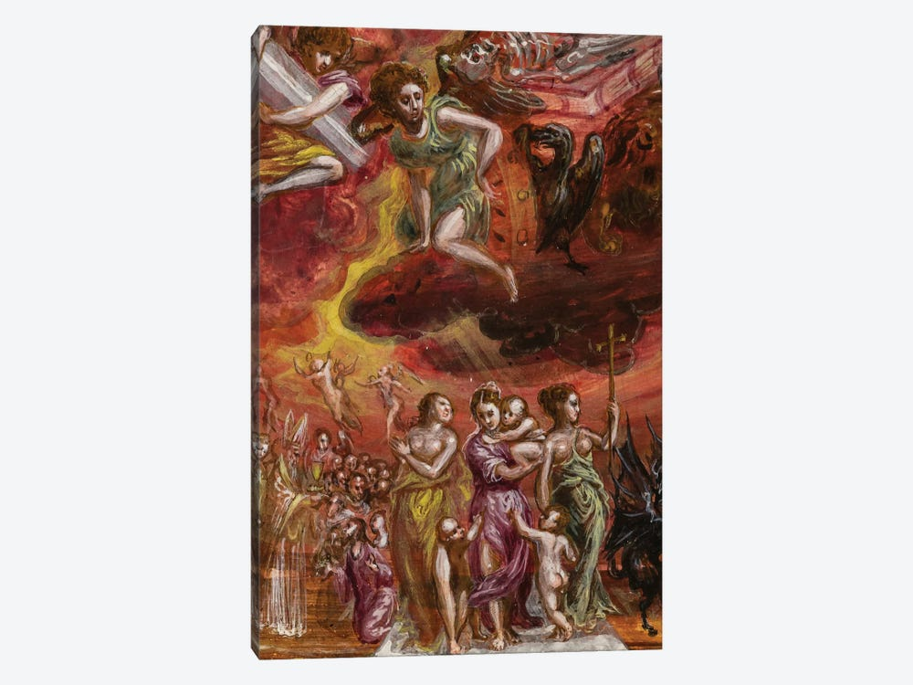 Bottom Two-Thirds In Zoom, Allegory Of The Christian Knight (Front Side Of Central Panel From El Greco's Portable Altar) by El Greco 1-piece Canvas Art