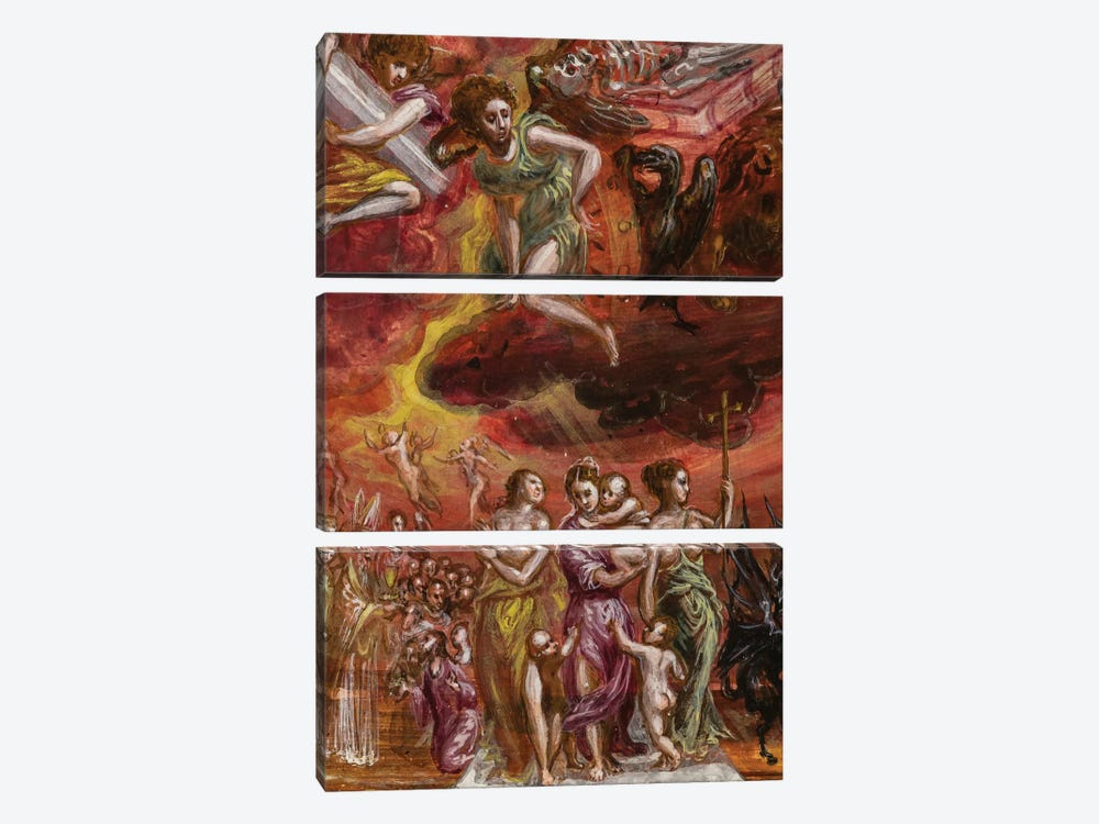 Bottom Two-Thirds In Zoom, Allegory Of The Christian Knight (Front Side Of Central Panel From El Greco's Portable Altar) by El Greco 3-piece Canvas Artwork