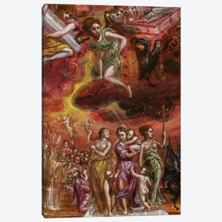 Bottom Two-Thirds In Zoom, Allegory Of The Christian Knight (Front Side Of Central Panel From El Greco's Portable Altar) Canvas Print #BMN6113} by El Greco Canvas Art Print