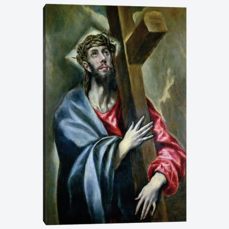 Christ Clasping The Cross, 1600-10 Canvas Print #BMN6115} by El Greco Canvas Artwork