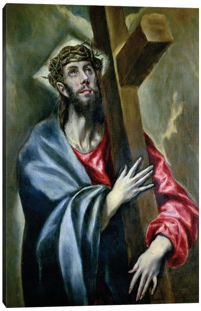 Christ Clasping The Cross, 1600-10 Canvas Art Print