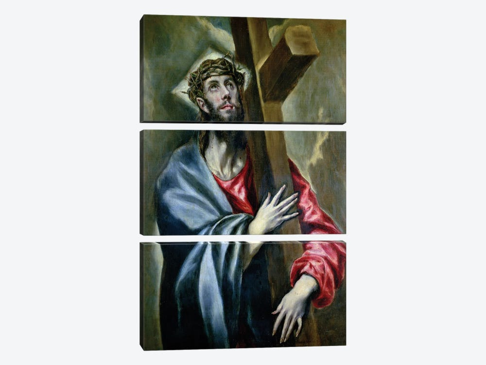 Christ Clasping The Cross, 1600-10 by El Greco 3-piece Canvas Artwork