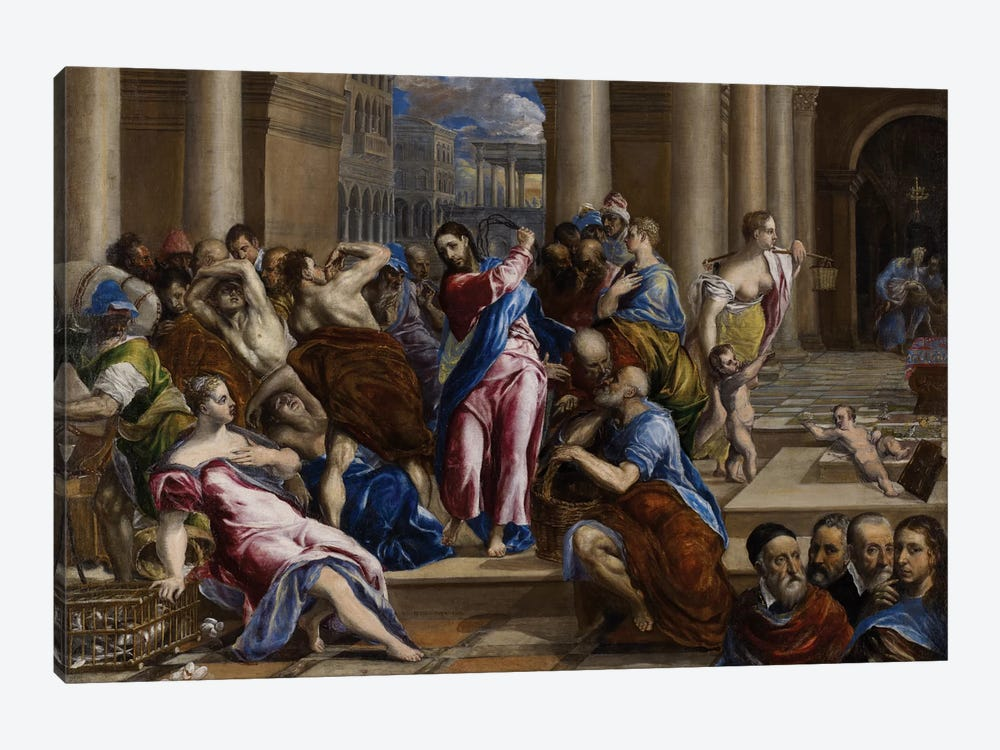 Christ Driving The Money Changers From The Temple, c,1570 by El Greco 1-piece Canvas Print