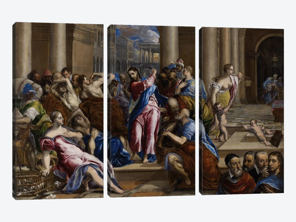 Christ Driving The Money Changers From The Temple, c,1570 by El Greco 3-piece Canvas Print