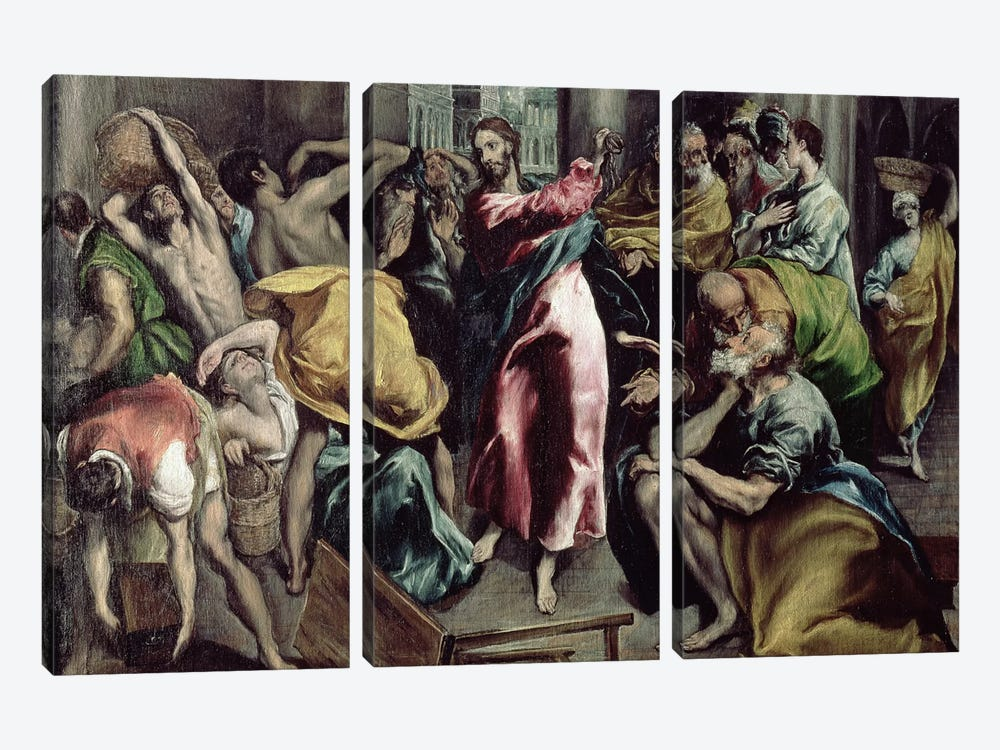Christ Driving The Traders From The Temple, c.1600 by El Greco 3-piece Canvas Art
