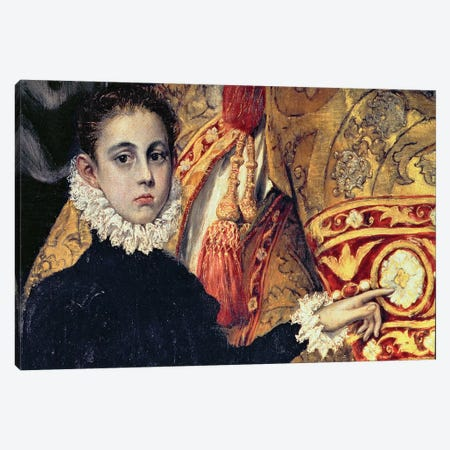 Detail Of A Boy (Thought To Be The Painter's Son), The Burial Of Count Orgaz (Illustration of a Local Legend), 1586-88 Canvas Print #BMN6121} by El Greco Canvas Art