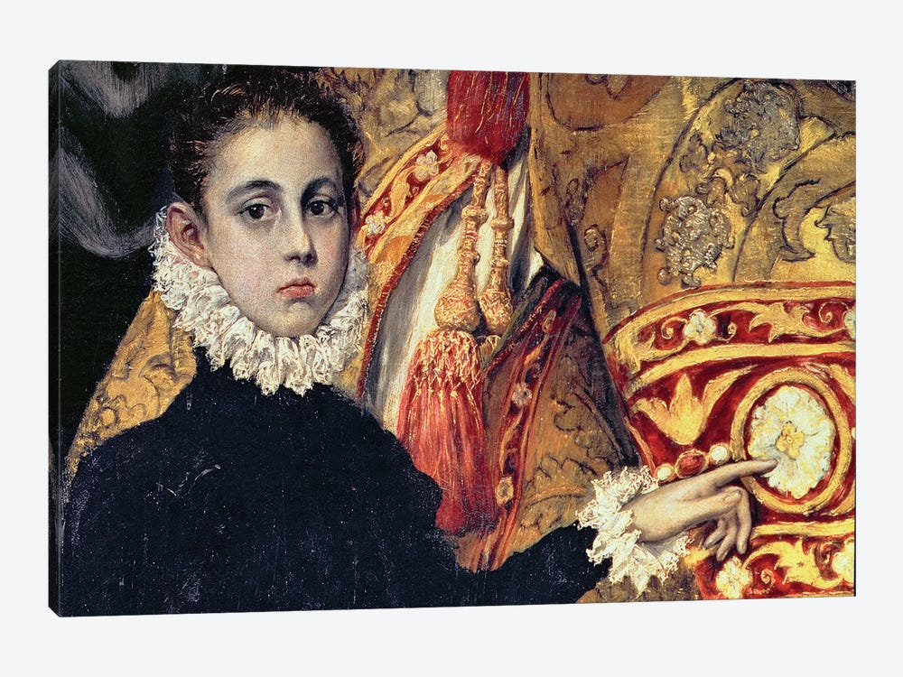 Detail Of A Boy (Thought To Be The Painter's Son), The Burial Of Count Orgaz (Illustration of a Local Legend), 1586-88 by El Greco 1-piece Canvas Art Print