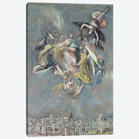 Detail Of Angels, View And Map Of The Town Of Toledo, Spain Canvas Print #BMN6122} by El Greco Canvas Art