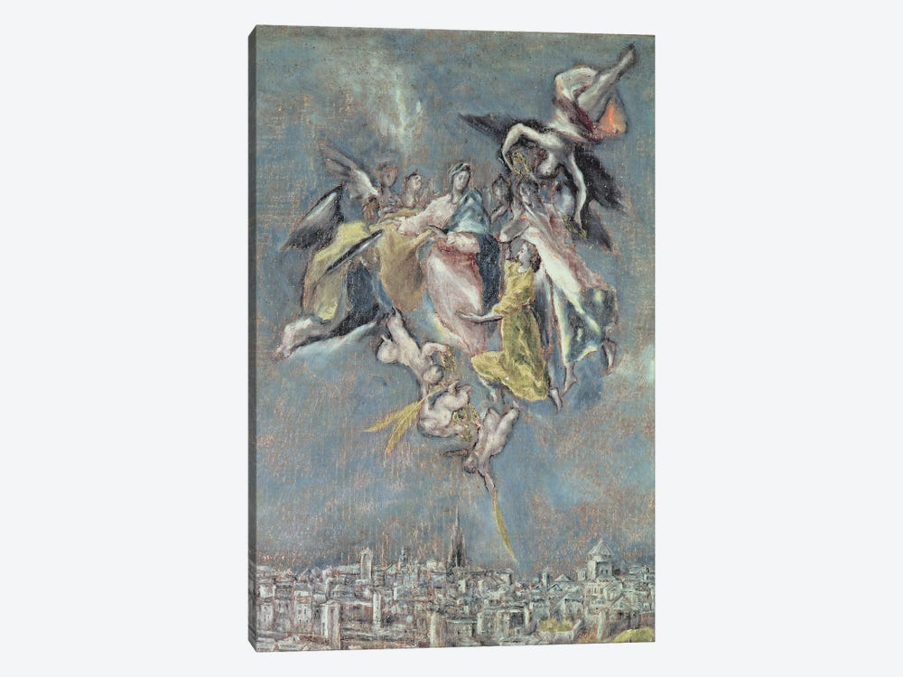 Detail Of Angels, View And Map Of The Town Of Toledo, Spain by El Greco 1-piece Canvas Art
