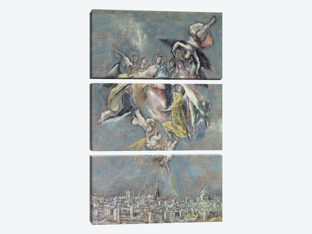 Detail Of Angels, View And Map Of The Town Of Toledo, Spain by El Greco 3-piece Canvas Art