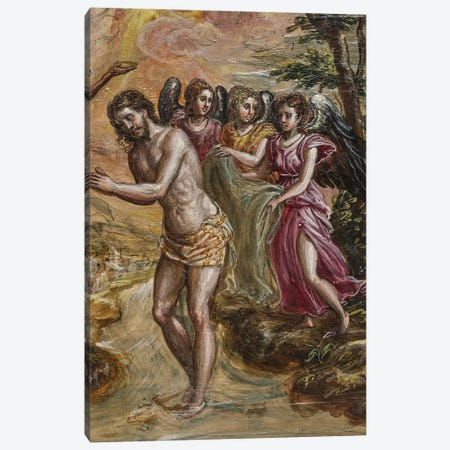 Detail Of Christ And Angels, The Baptism Of Christ (Front Side Of Right Panel From El Greco's Portable Altar) Canvas Print #BMN6123} by El Greco Canvas Wall Art