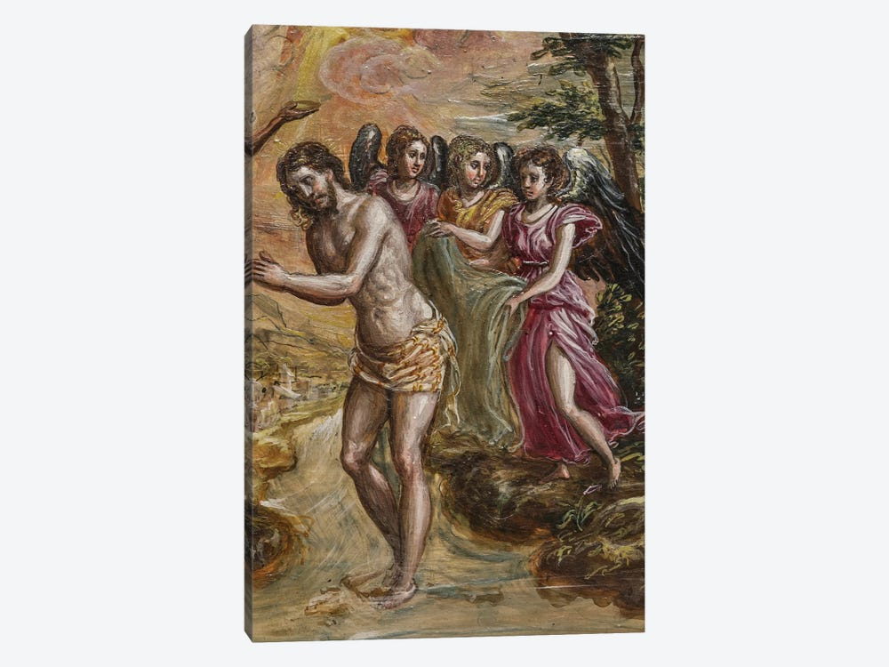 Detail Of Christ And Angels, The Baptism Of Christ (Front Side Of Right Panel From El Greco's Portable Altar) by El Greco 1-piece Canvas Print