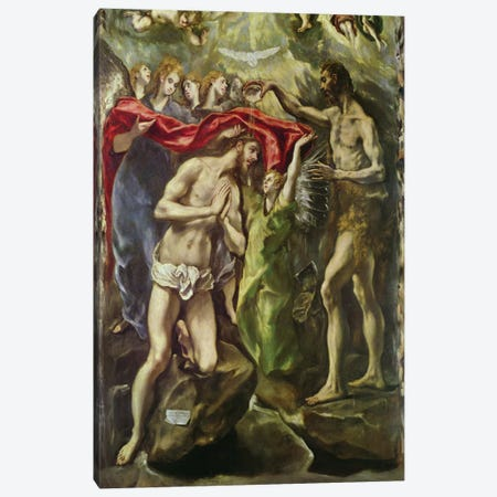 Detail Of Christ And Saint John The Baptist, The Baptism Of Christ, c.1596-1600 (Museo del Prado) Canvas Print #BMN6124} by El Greco Canvas Art Print
