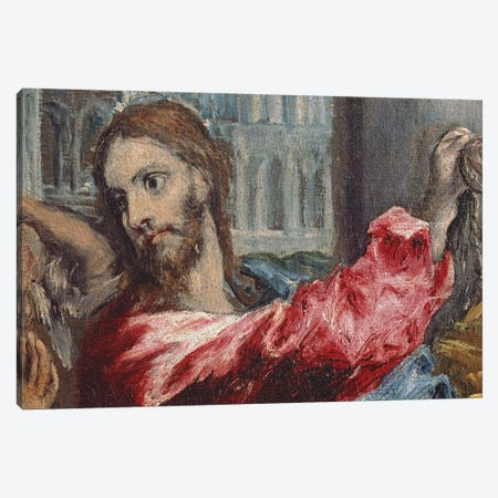 Detail Of Christ, Christ Driving The Traders From The Temple, c.1600 Canvas Print #BMN6125} by El Greco Canvas Art Print