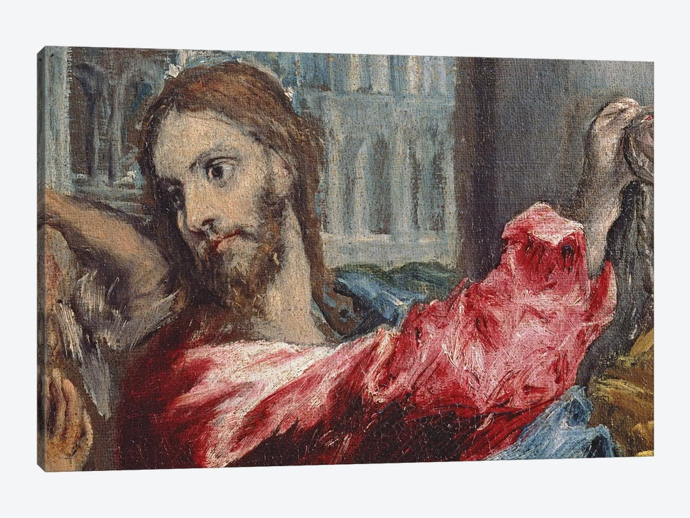 Detail Of Christ, Christ Driving The Traders From The Temple, c.1600 by El Greco 1-piece Art Print