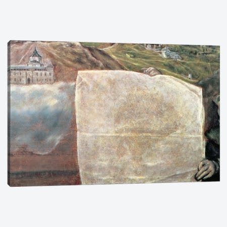 Detail Of Map, View And Map Of The Town Of Toledo, Spain Canvas Print #BMN6130} by El Greco Canvas Art Print