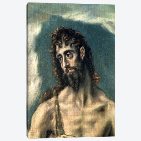 Detail Of St. John The Baptist, St. John The Evangelist And St. John The Baptist, 1605-10 Canvas Print #BMN6131} by El Greco Art Print