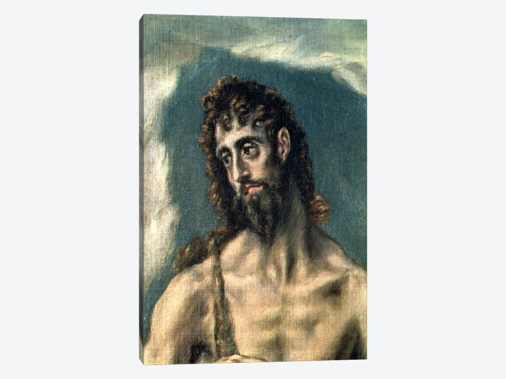 Detail Of St. John The Baptist, St. John The Evangelist And St. John The Baptist, 1605-10 by El Greco 1-piece Canvas Art