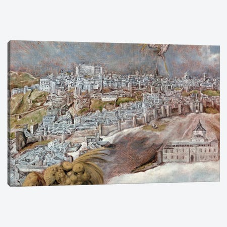 Detail Of Town, View And Map Of The Town Of Toledo, Spain Canvas Print #BMN6134} by El Greco Canvas Artwork