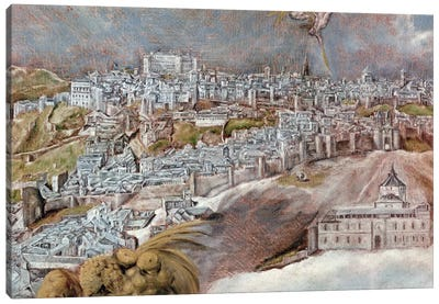 Detail Of Town, View And Map Of The Town Of Toledo, Spain Canvas Art Print