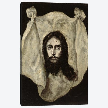 Face Of The Christ Canvas Print #BMN6137} by El Greco Canvas Artwork