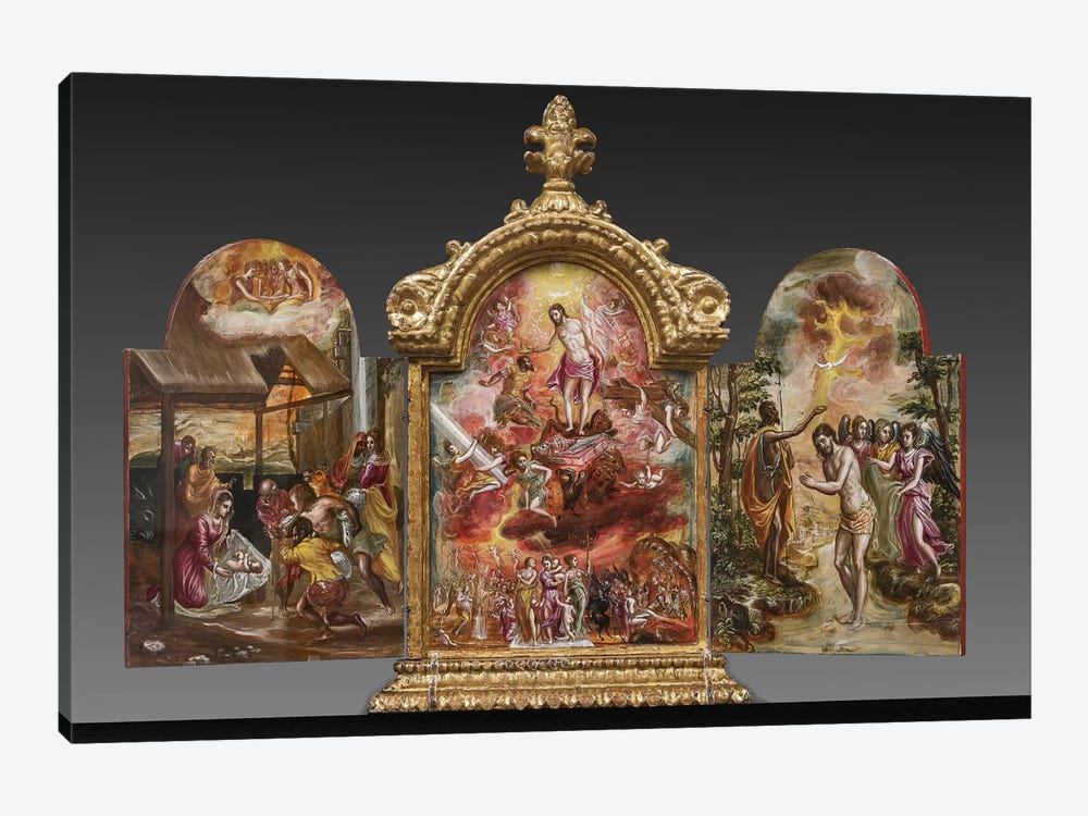 Front Side Of El Greco's Portable Altar by El Greco 1-piece Canvas Art Print